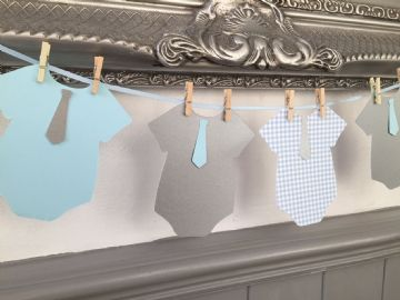 Baby Shower Bunting  Blue & Grey